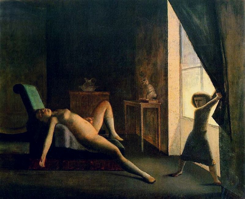 'The Room', a painting by Balthus. Tiny woman with fierce expression opens curtains to shine light on squirming girl. Click to enlarge.