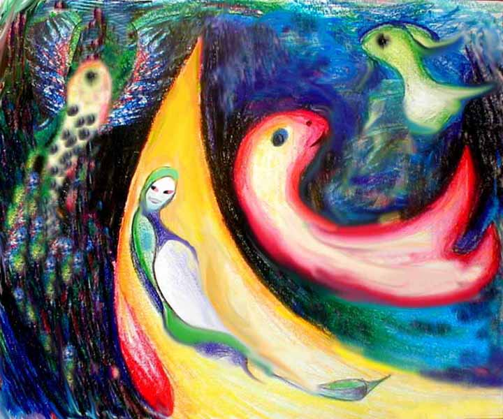 some floating bird-fish-angels in the style of Kenneth Patchen.