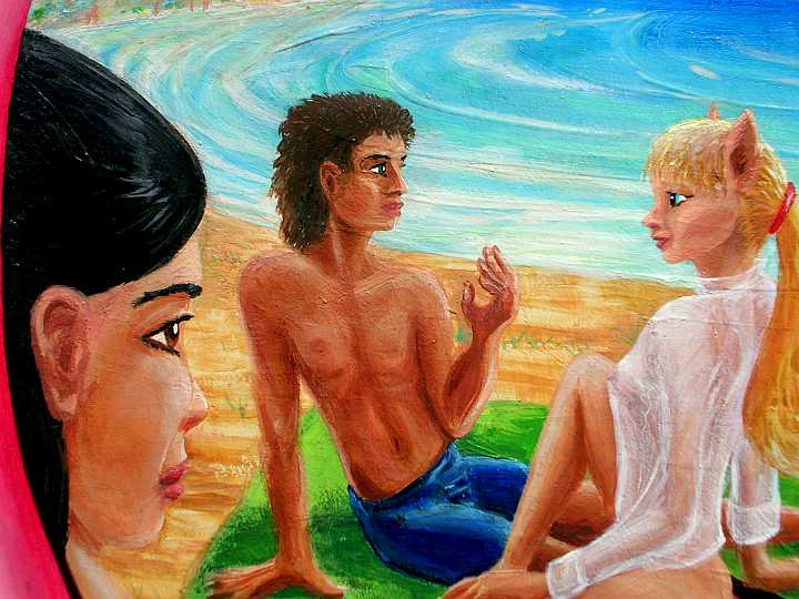 Painted beach scene. Asian girl lying on a towel gawks at a centaur-girl talking to a human-looking boy. Click to enlarge.