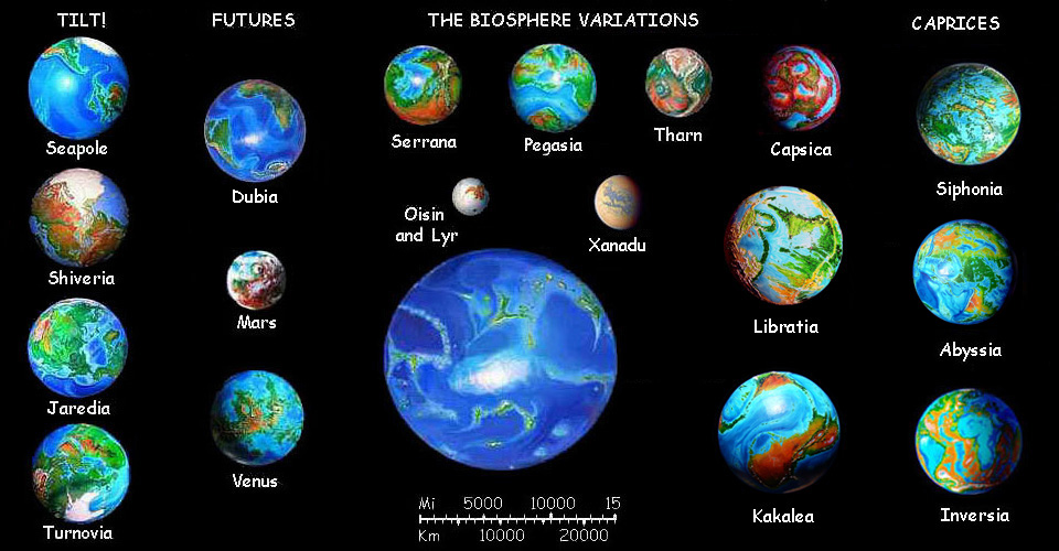 Photomontage by Wayan of 19 hypothetical planets and moons from space, ranging from 5000 to 30,000 km across.