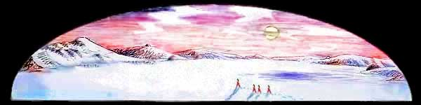 Trekking on the icefields of Mars as it slowly terraforms. Dream sketch by Wayan