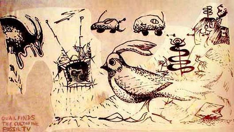 Quail, spelunking again, finds ancient cave paintings of the Cult of the Fossil TV