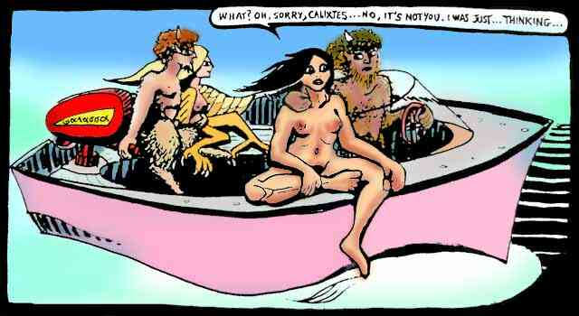 On their speedboat, Calixtes the satyr notices his human girlfriend is pensive