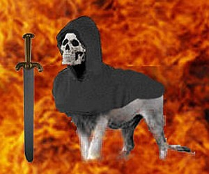 Satanic lion met in a nightmare: gray body, skull face, with cloak and sword