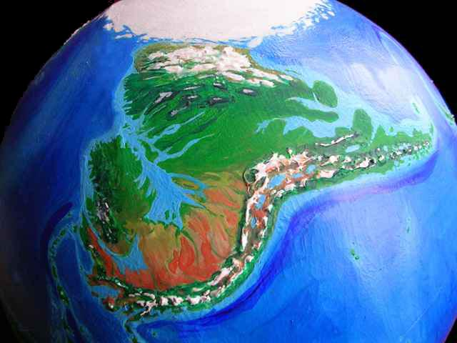Orbital view of Seapole, a climatologically alternate Earth: Amazonia, a continent corresponding to our South America, but temperate and drier. Click to enlarge.