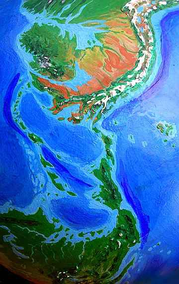 Orbital view of Seapole, a sharply tilted alternate Earth : The Caribbean, from the Orinoco Desert in the north to Texas in the south.