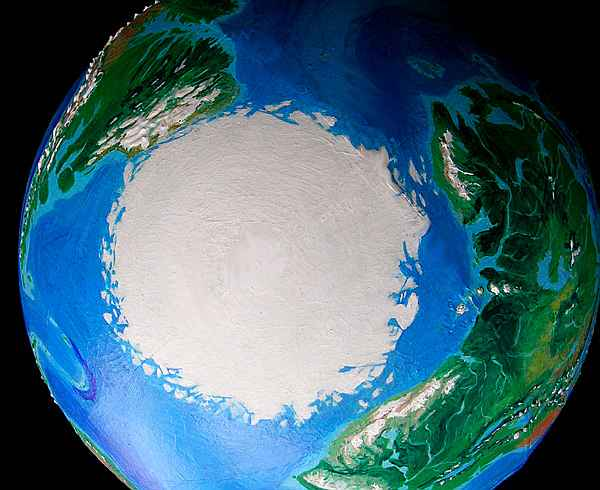 Orbital view of Seapole, a climatologically alternate Earth: North Polar Cap. Africa on right, Brazil upper left.
