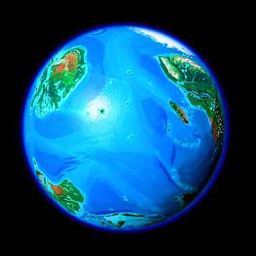 Orbital view of Seapole, a climatologically alternate Earth. Indian Ocean with ice-free Antarctica. Click to enlarge.