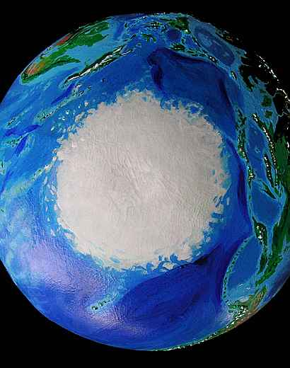 Orbital view of Seapole, a climatologically alternate Earth: the South Polar Icepack, with Japan on right, Hawaii bottom, New Guinea top.