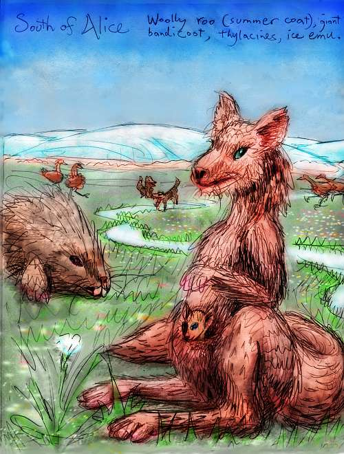 Shiveria, an alternate Earth: fauna of the Outback tundra: woolly roo, giant bandicoot, thylacines, ice emus.