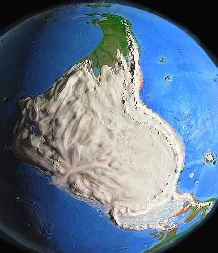 Orbital view of Shiveria, a climatologically alternate Earth: Amazonia, a glaciated polar continent corresponding to our South America. Only Patagonia, at top, is ice-free. Click to enlarge.