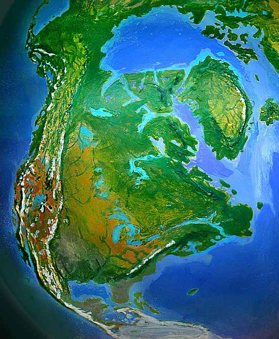 Orbital view of Shiveria, a climatologically alternate Earth: America, corresponding to our North America.