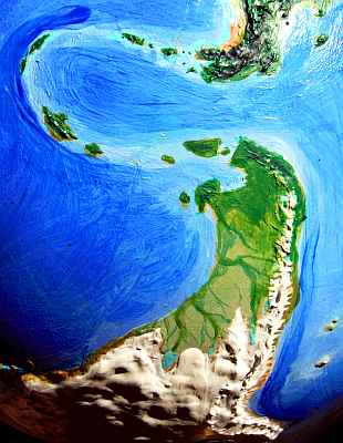 Orbital view of Shiveria, an alternate Earth with its poles displaced: Patagonia, a tongue of tundra and taiga extending from ice-capped South America, at the south pole.