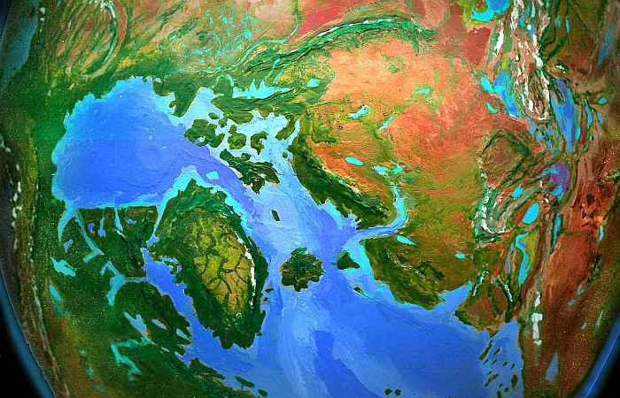 Orbital view of Shiveria, a climatologically alternate Earth: Europe and the tropical Greenland Sea.  Click to enlarge.