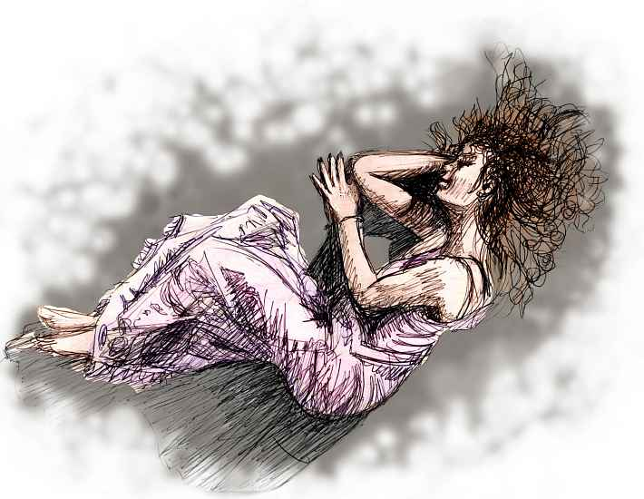A red-haired girl in lavender nightgown lying asleep on gray asphalt; ink sketch of a dream by Wayan. Based on a photo of Tori Amos in her CD 'Under the Pink'. Click to enlarge.