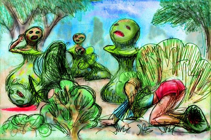 Infected with weird spores, we turn into green pawn-shaped things.  Click to enlarge.
