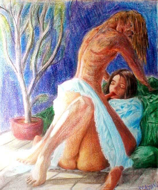 crayon drawing of girl in white dress rubbing herself and licking her boyfriend.