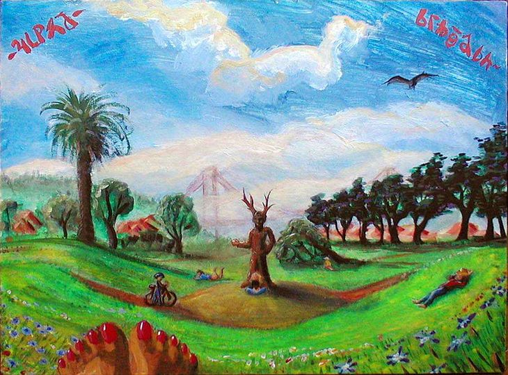 Acrylic painting of Fort Mason, San Francisco. Philip Burton statue in center on lawn. But with deer horns.  Click to enlarge.
