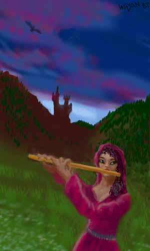 Dusk, mountains. From a castle comes a woman in a red hooded robe, playing a flute.