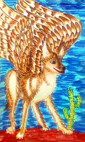 Winged coyote (Canis volans) in Ralk Desert, central Aphrodite, on Venus after terraforming.