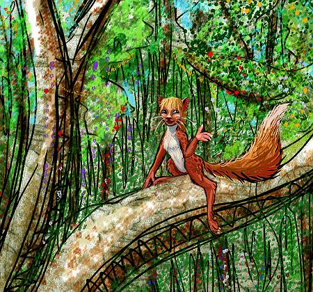 Tree-cat tourist in Chubado Rainforest, southern Ishtar, on Venus after terraforming. Click to enlarge.