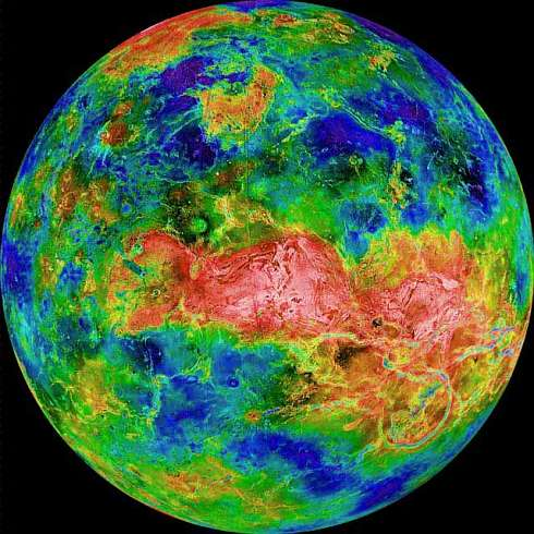 Topographic radar scan of Venus. Mountains white, highlands reddish, lowlands yellow, likely shoreline light green, shallows turquoise, sea-basins blue.