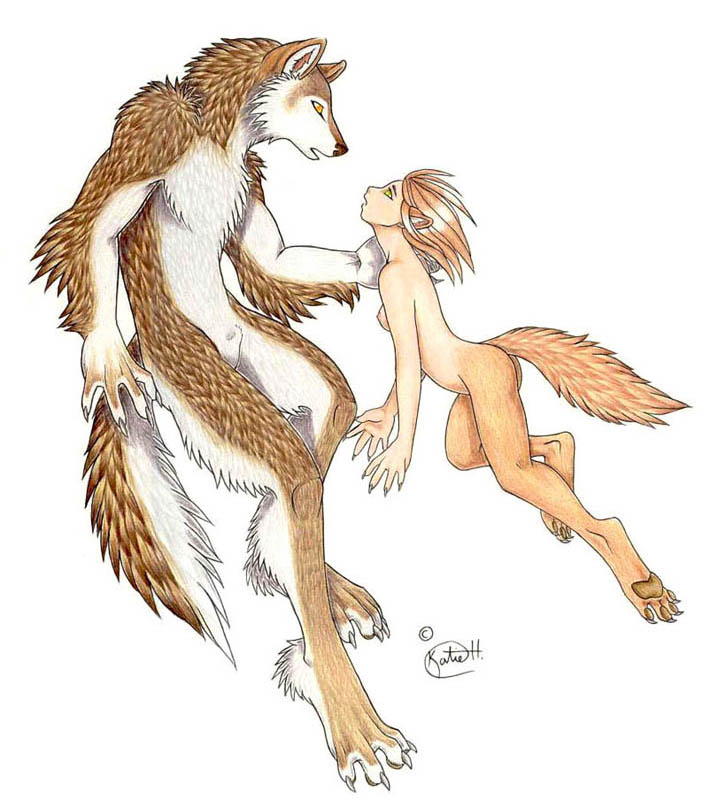 My dream self, a wolf nymph, human-skinned but with wolf eyes ears legs and tail, meeting my dream-lover, a huge, shaggy, brown and white wolf guy.
